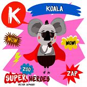 Постер, плакат: Super Big Set Cute Vector Zoo Alphabet With Animals In Cartoon Style letter K koala In Superheroes