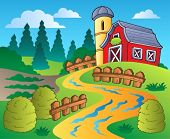 stock photo of hayfield  - Country scene with red barn 4  - JPG