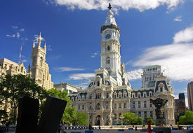 picture of city hall  - Historic City Hall with church in Philly PA - JPG