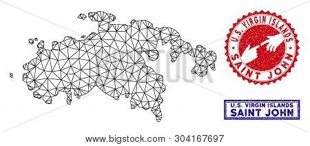 poster of Wire Frame Polygonal Saint John Island Map And Grunge Seal Stamps. Abstract Lines And Circle Dots Fo