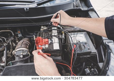 poster of Services Car Engine Machine Concept, Automobile Mechanic Repairman Hands Checking A Car Engine Autom