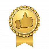 Ribbon Award Up Thumb Gold Icon. Gesture Success Hand Golden Medal. Best Choice, Best Seller, Label  poster