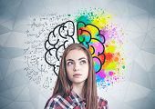 Thoughtful Young Woman In Casual Clothes Standing Near Geometric Pattern Wall With Colorful Brain Sk poster