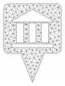 Mesh Bank Building Pointer Model Icon. Wire Frame Triangular Mesh Of Vector Bank Building Pointer Is poster