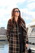 pic of piraeus  - Young woman at the port of Piraeus Greece - JPG