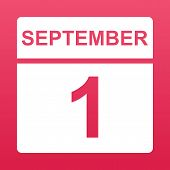 September 1. White Calendar On A Colored Background. Day On The Calendar. First Of September. Raspbe poster