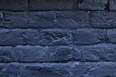 The Brick Wall Painted In Blue. Background Of Old Vintage Blue Brick Wall. Blue Brick Wall .street L poster