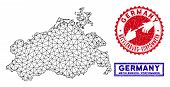 Mesh Polygonal Mecklenburg-vorpommern Land Map And Grunge Seal Stamps. Abstract Lines And Dots Form  poster
