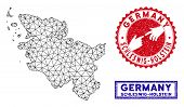 2d Polygonal Schleswig-holstein Land Map And Grunge Seal Stamps. Abstract Lines And Points Form Schl poster