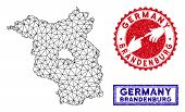 Mesh Polygonal Brandenburg Land Map And Grunge Seal Stamps. Abstract Lines And Dots Form Brandenburg poster