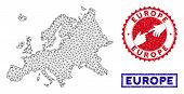 2d Polygonal Europe Map And Grunge Seal Stamps. Abstract Lines And Spheric Points Form Europe Map Ve poster