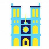 Notre Dame De Paris Geometric Illustration Isolated On White. Paris City Decoration Series. poster
