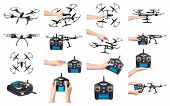 Hand With Rc Controller And Drone, Set And Collection. poster