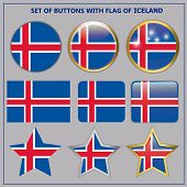 Bright Button With Flag Of Iceland. Happy Iceland Day Button. Button With Flag. Illustration. poster