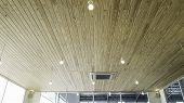 Brown Wooden Ceiling Background, Wooden Ceiling With White Nyon Lamp In Cafe poster