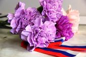 Carnation Flowers. Bouquet Of Carnations. Violet, Lilac And Pink Flowers Carnations In The Bouquet.  poster