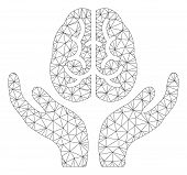 Mesh Brain Care Hands Polygonal Icon Vector Illustration. Carcass Model Is Based On Brain Care Hands poster