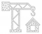 Mesh Build House Polygonal Icon Vector Illustration. Carcass Model Is Created From Build House Flat  poster
