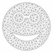 Mesh Clever Smiley Polygonal Icon Vector Illustration. Carcass Model Is Based On Clever Smiley Flat  poster