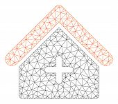 Mesh Clinic Building Polygonal Icon Vector Illustration. Model Is Based On Clinic Building Flat Icon poster
