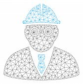 Mesh Clever Engineer Polygonal 2d Vector Illustration. Model Is Based On Clever Engineer Flat Icon.  poster