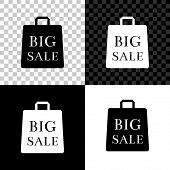 Shoping Bag With An Inscription Big Sale Icon Isolated On Black, White And Transparent Background. H poster