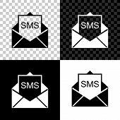 Envelope Icon Isolated On Black, White And Transparent Background. Received Message Concept. New, Em poster