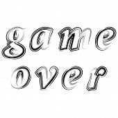 Ink Grunge Game Over Sign On White Background. Gaming Concept. Video Game Screen. Typography Design  poster