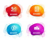 Liquid Badges. Set Of Graph Chart, Report Document And Usd Exchange Icons. Banking Money Sign. Growt poster