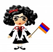 pic of maryjane  - Illustration of a lil Armenian girl holding her countries flag - JPG