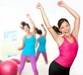 image of athletic woman  - Fitness dance class aerobics - JPG