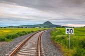 Railway Track  In Central Bohemian Highlands, Czech Republic. Central Bohemian Uplands  Is A Mountai poster