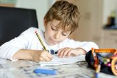 Tired Kid Boy At Home Making Homework Writing Letters With Colorful Pens poster