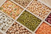 Background from various kinds legumes. Different varieties of legumes in a wooden box. Dry haricots, poster