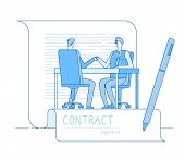 Agreement Contract. Business Partnership Businessmen Investors Handshaking. Finance Relationship Inv poster