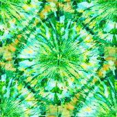 Seamless Tie-dye Pattern Of  Green  Color On White Silk. Hand Painting Fabrics - Nodular Batik. Shib poster