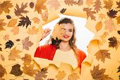 A Healthy But Natural Glow. Fashion Model With Decorative Fall Makeup. Makeup Trends For Fall. Makeu poster