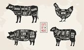 Set Of Meat Diagrams. Cuts Of Meat. Cow, Chicken, Pig And Sheep Silhouette. Vintage Posters For Groc poster