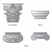 Antique Set Of Greek Historical Capitals For Calon: Ionic, Doric And Corinthian Capitals Vector Line poster