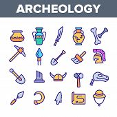 Archeological Tools And Excavations Vector Linear Icons Set. Archeology Science Outline Symbols Pack poster