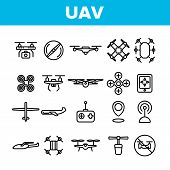Uav, Remote Control Drones Vector Linear Icons Set. Uav, Unmanned Aircraft System Outline Symbols Pa poster