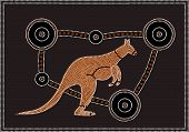 stock photo of aborigines  - A vector illustration based on aboriginal style of dot painting depicting Kangaroo - JPG