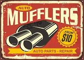 Auto Mufflers Retro Tin Sign Design. Auto Parts And Car Repair Vintage Poster. Exhaust Pipe Systems  poster