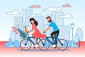 Cartoon Couple Cycling On City Street. Man And Woman, Boyfriend And Girlfriend Riding Bicycles. Eco  poster