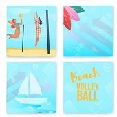 Cartoon Flat Characters Modern Sport Activity, Beach Volleyball Flyer Banner Poster, Web Online Conc poster