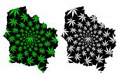 Hauts-de-france (france, Administrative Region) Map Is Designed Cannabis Leaf Green And Black, Nord- poster