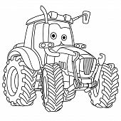 Coloring Page. Colouring Picture. Cute Cartoon Tractor. Agricultural Farming Vehicle. Childish Desig poster