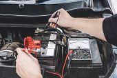 Services Car Engine Machine Concept, Automobile Mechanic Repairman Hands Checking A Car Engine Autom poster