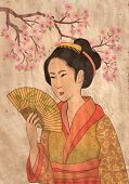 Japanese geisha and oriental cherry - illustration in style of traditional old japanese engraving