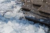stock photo of freezing temperatures  - Detail of pieces of dangerous ice on the stairs - JPG